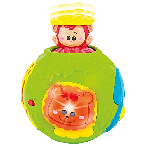 KiddoLab Jungle Animal Roll & Learn Fun Baby Activity Ball. Activity Center with Light, Sounds and Music. Crawling Toys for 6 Month Old boy.Electronic Playtime Light Up Monkey Ball Toy for Toddlers.