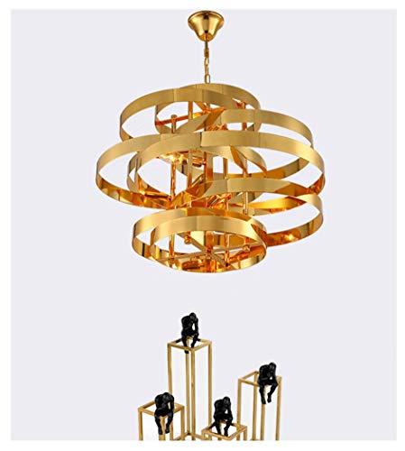 NIUZIMU Nordic Creatieve Tornado kroonluchter licht mode hotel lokaal goud hanglamp persoonlijkheid woonkamer ring smeedijzeren plafondverlichting
