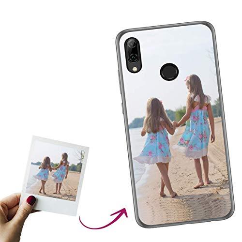Mookase Funda para Huawei P Smart 2019 Personalizada para TU MÓVIL con Imagen O Texto, Carcasa Personalizable, Gel Flexible, Borde Trasparente, Regalo Original