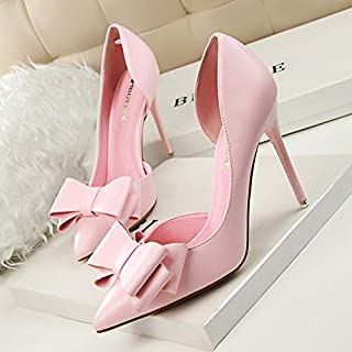 Fashion Delicate Sweet Bowknot High Heel Shoes Side Hollow Pointed Women Pumps(Grey,36)
