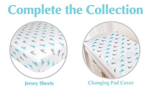 American Baby Company Printed 100% Natural Cotton Jersey Knit Fitted Contoured Changing Table Pad Cover, Aqua Whale, Soft Breathable, for Boys and Girls