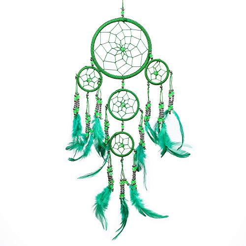 Pink Pineapple Dreamcatcher mit Federn und Silber Perlen: Handgemachter Traumfänger Vielen Farben Erhältlich - Grün - Kleine Traumfänger Mit 12 cm Durchmesser und 35 cm Lang