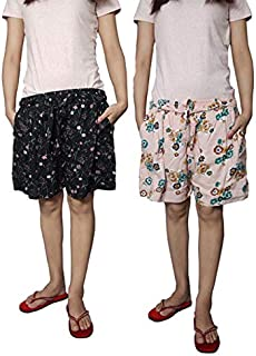 Ukal Combo (Pack of 2) Printed Cotton Comfortable Shorts for Sports, Yoga, Daily Use Gym, Night Wear, Casual Wear for Women & Girls