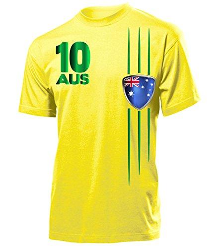 Australien Fanshirt Fan Shirt Tshirt Fanartikel Artikel Streifen 3399 Fussball Männer Herren T-Shirts Gelb XL