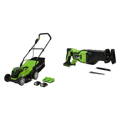 Greenworks Tools Cortacésped con batería G24X2LM36K2x, Li-Ion 24VX2 36cm Ancho Corte hasta 250m² + Batería Sierra de Sable GD24RS, 24V Li-Ion Control de Velocidad