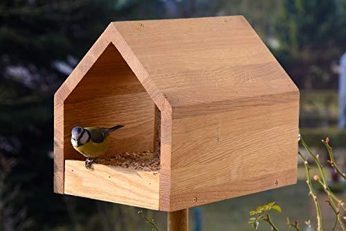 Luxus-Vogelhaus 46601e Eiche-Vogelfutterhaus mit Ständer, Satteldach, Futtertablett und Silo - 5