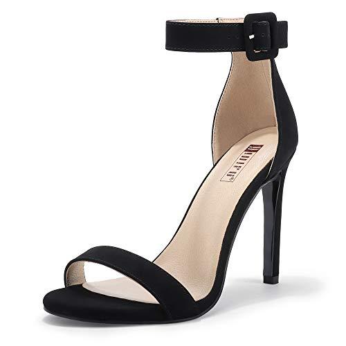 IDIFU Women's Dressy High Heel Stiletto Sandals Open Toe Buckled Party Wedding Shoes Heels for Women Bride (Black Nubuck, 8MUS)