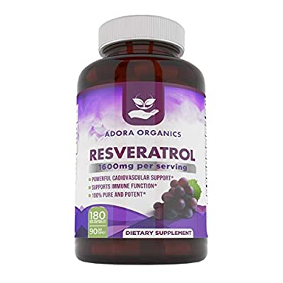 Adora Organics Resveratrol 1600mg - Antioxidents Quercetin Trans-Resveratrol 180 Capsules. Supports Healthy Aging and Promotes Immune, Blood Sugar and Joint Support