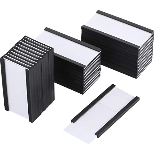 Magnetic Label Holders Labels with Magnets Magnetic Data Cardholders with Protective Films Replacement Strips for Shelf Bin (2 x 1 Inch, 30)