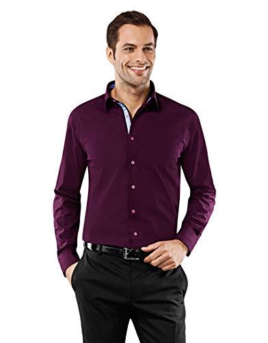 Vincenzo Boretti Herren-Hemd bügelfrei 100% Baumwolle Regular-fit Uni-Farben New-Kent Kragen - Männer lang-arm Hemden für Anzug Krawatte Business Hochzeit Freizeit aubergine 43-44