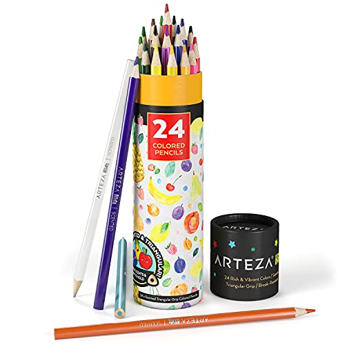 Arteza Kids Scented Colored Pencils, Set of 24 Easy-to-Grip Pencil Crayons, Triangular Shape, Pre-Sharpened, Art Supplies for Arts and Crafts Time, Drawing, and Doodling