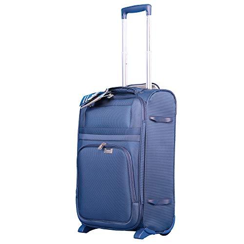 Aerolite Ultraleichter 2-Rad Reisetrolley Koffer Handgepäck, Boardgepäck, Kabinengepäck, Check-In Gepäck, Zugelassen für Ryanair, easyJet, British Airways, Flybe, Wizz Air und viele andere, Marine