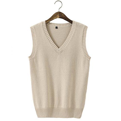 Men Women Knitted Cotton V-Neck Vest JK Uniform Pullover Sleeveless Sweater School Cardigan Apricot