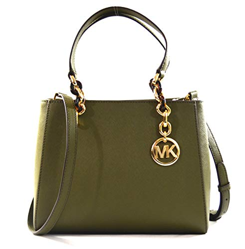 Michael Kors Sofia Medium Saffiano Leather Tote Crossbody Bag Purse Handbag (Duffle), Small