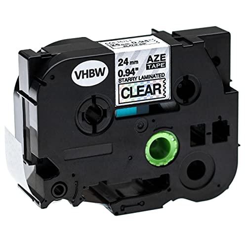 vhbw Casete de Cinta Compatible con Brother P-Touch RL700S Impresora de Etiquetas, 24mm, Negro sobre Transparente