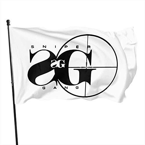 firjiyj Outdoor Indoor Garten Banner Zeichen,Sniper Gang Rap Musik Dekorative s Outdoor Künstliche Flagge Für Garten Hof Dekorationen 3x5 Ft-Schwarz