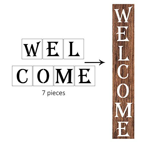 Welcome Stencil - Large Letter Stencils for Porch Sign, AZDIY Reusable Stencils for Painting on Wood, Giant Letters for Outdoor Welcome Stencil Vertical Laser Cut Painting Stencil for Home Décor & DIY