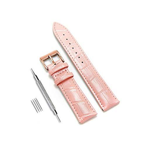 Pelle cinturini in acciaio orologio Pin fibbia della cinghia della fascia di polso Cintura per gli attrezzi Bracciale, 2,14mm Rosa