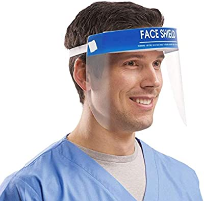 Full Face Protective Shield Visor, Plastic Adjustable Transparent Face Shield to Prevent Saliva, Droplet with Elastic Band?3P)