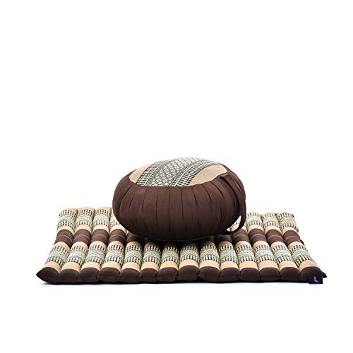 LEEWADEE Meditation Cushion Set – 1 Round Zafu Yoga Pillow and 1 Square Roll-Up Zabuton Mat Filled with Eco-Friendly Kapok, Pack of 2, Brown