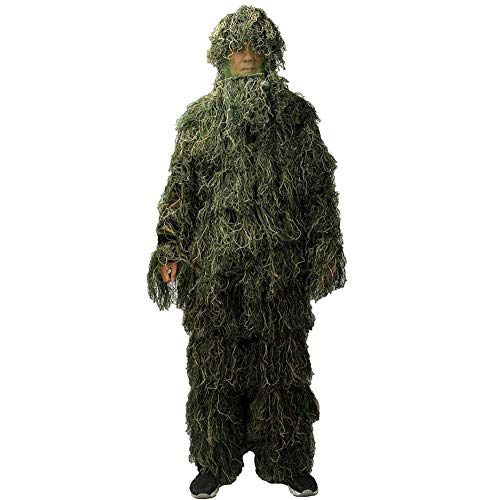 ZGYQGOO Ghillie Suit 3D 4 pièces avec Sac Camouflage Camo Chasse Tactique Forêt Bois (Taille Libre)