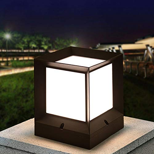 ZZTX Lámpara de Poste de Pilar Cuadrada para Exteriores, Impermeable IP54 Lámpara de Columna de Metal de Aluminio Negro E27 Linterna de Poste Decorativa para Parques Césped comunitario Patio Jard