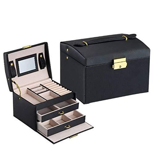 Caja organizadora de joyas para mujeres y niñas, estuche de joyería de 3 niveles, estuche de cuero con espejo, varios compartimentos para collares, pulseras, anillos