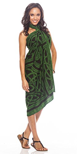 1 World Sarongs Womens Premium Celtic Circles Cover-Up Fringeless™ Sarong in Emerald Green