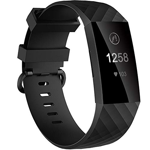 Velavior Waterproof Bands for Fitbit Charge 3/ Fitbit Charge 4/ Charge3 SE, Replacement Wristbands for Women Men Small Large (Black, Large)