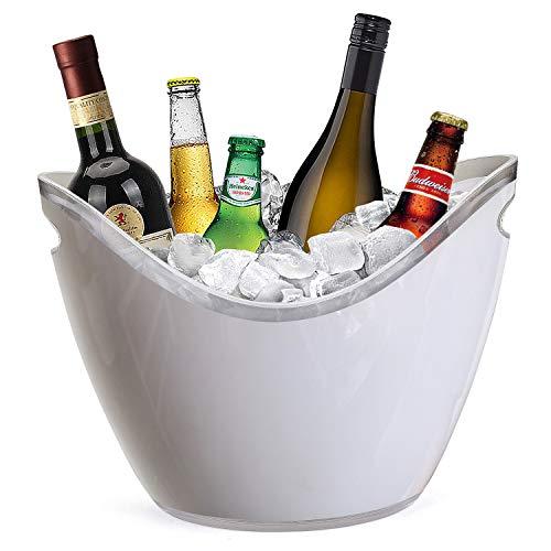Yobansa 8L Portaghiaccio,Secchiello per Il Ghiaccio,Secchio di Ghiaccio,Secchiello ghiacci, Secchiello per Champagne,Secchiello per Il Ghiaccio Grande (White)
