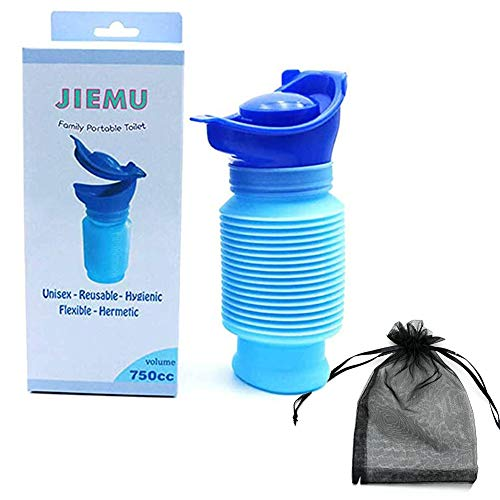 Rongbo Shrinkable Urinal,750ML Male Female Portable Mobile Toilet Potty Pee Urine Bottle,Reusable Emergency Urinal for Camping Car Travel Traffic Jam and Queuing (1Pack)