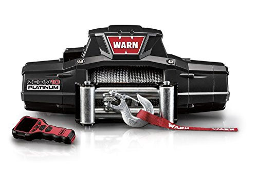 "WARN 92810 ZEON 10 Platinum Electric 12V Winch with Steel Cable Wire Rope: 3/8"" Diameter x 80' Length, 5 Ton (10,000 lb) Lifting/Pulling Capacity"