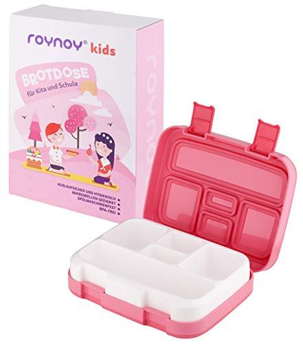 roynoy | Brotdose Kinder | mit Trennwand | Bento Box Kinder | Frühstücksbox | für Kindergarten Kita Schule (pink/rosa)