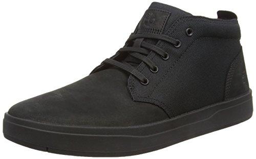 Timberland Men's Davis Square Leather and Fabric Chukka, Black/Black Blackout Nubuck, 11