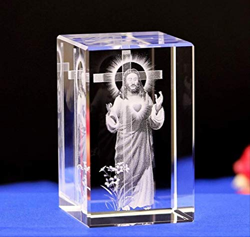 ZAAQ Figurine Ornaments Gifts Home Decor Accents Laser Cube Engraver Jesus Christ Christian Catholic Statues Crystal Engraving Creative Gift Decoration