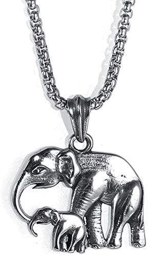 niuziyanfa Co.,ltd Pendant Necklace Titanium Steel Necklace Men Stainless Steel Silver Animal Elephant Pendant Necklace Gift for Women Men