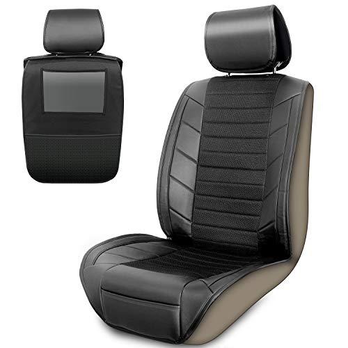 Upgrade4cars Coprisedile Auto Anteriore Universale | Organizer per Sedile e Protezione per Lo Schienale | Porta Tablet Bambini da Auto | Coprisedili Singoli Universali | Accessori Macchina