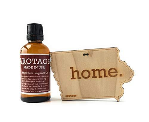 Arotags Iowa Car Air Freshener & Vanilla Lavender Fragrance Oil Diffuser. Lasts 365+ Days. 100% Made in U.S.A.