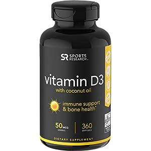 Vitamin D3 (1000iu/25mcg) Infused with Coconut Oil ~ Non-GMO & Gluten Free (360 Mini Liquid Softgels)