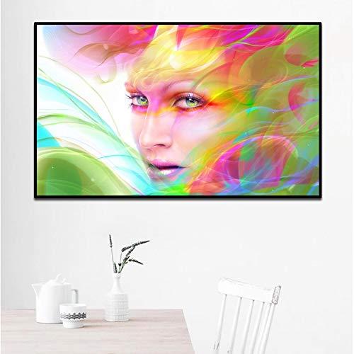 Psychedelische meisje met bloem moderne decoratie Canvas schilderij abstracte figuur kunst Wall Art foto's voor slaapkamer woonkamer_40x65cm