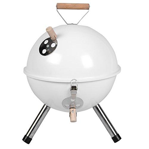 Nexos YG00263 Mini Grill Kugelgrill Holzkohlegrill für Garten Terrasse Camping Festival Picknick BBQ Barbecue Ø 30 cm weiß