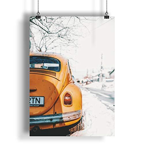 INNOGLEN Vintage Retro Old Classic Car Snow A0 A1 A2 A3 A4 Satin Foto Poster a321h