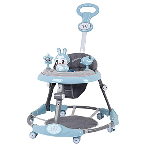 Fitplaco Height Adjustable Baby Walkers - with Music Light&Push Handle&Foldable Seat, 2 in 1 Stroller Walker for Boys Girls 6-18 Months (Blue)
