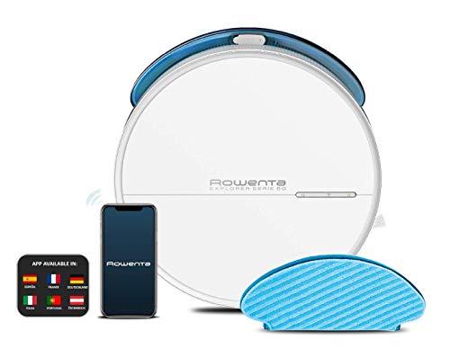 Rowenta Saugroboter X-Plorer Serie 60 RR7447 | Nur 6cm hoch | Zentrale Bürste | Systematische Reinigung dank Gyroskop | Steuerung per App | 2 in 1 Reinigung | Saugen und Wischen | 90m² | Weiß
