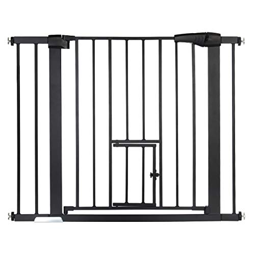 """KingSo Auto Close Safety Baby Gate 29.5""""-40.5"""" Durable Extra Wide Walk Thru Baby Gate with Pet Door for House Stairs Doorways Hallway. Include 4 Pressure Bolts, 2.75'' & 5.5'' Extension, Black"""