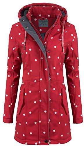 ODYSSEE Damen Softshell Mantel gepunktet Parka Jacke Kapuze Outdoor Übergang, Farbe:rot, Größe:L