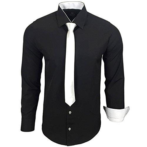 Rusty Neal Herren Kontrast Hemd Business Hochzeit mit Krawatte S bis 6XL, Farbe:Schwarz/Weiß, Größe:4XL