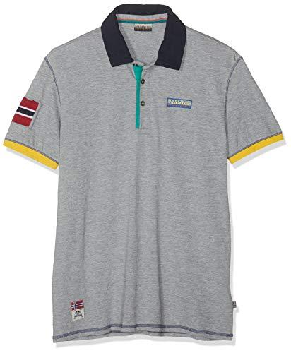 Napapijri Herren EECH Poloshirt, Grau (Med Grey Mel 160), Small (Herstellergröße: S)