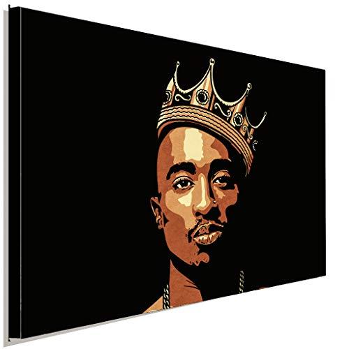 AK ART Tupac Shakur 2Pac Krone Rap Leinwandbild Kunstdruck Wandbild Wanddeko (100 x 70 cm)