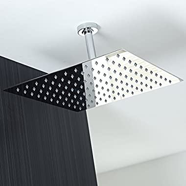 Koko Brand Rain16 16-inch Solid Square Ultra Thin Rain Shower Head, Polished Stainless Steel (Chrome))